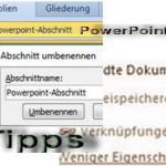 Powerpoint Abschnitte und Verknüpfungen mit Excel