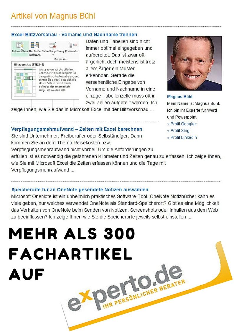 300 Fachartikel zu Micrsoft Office und mehr bei experto ...