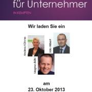 Expertenabend für Unternehmer in Kempten am Mittwoch, 23.10.2013