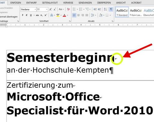 Semesterbeginn Hochschule Kempten - Zertifizierung zum Microsoft Word Specialist
