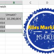 Alles Markieren in Microsoft Excel