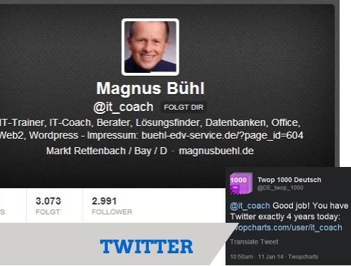 Magnus Bühl alias @it_coach seit 4 Jahren auf Twitter
