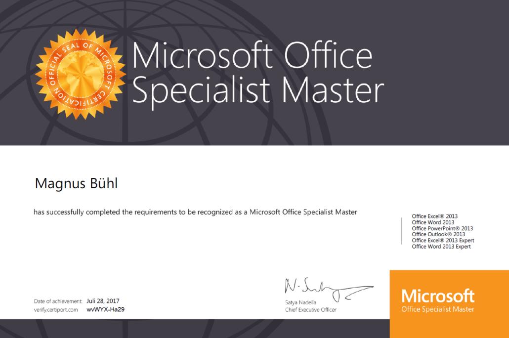 Magnus Bühl - zertifiziert als Microsoft Office Specialist Master für Version 2013