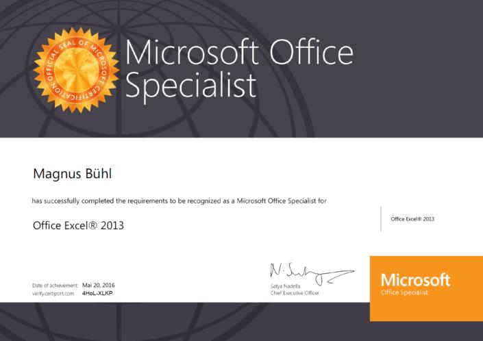 Magnus Bühl ist zertifiziert als Microsoft Excel Specialist
