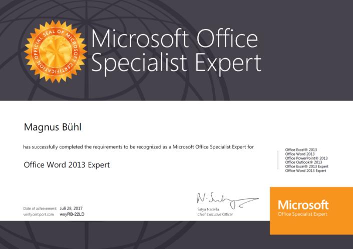 Magnus Bühl ist zertifiziert als Microsoft Word Specialist (Level: Expert)